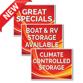 Red Swoosh Self Storage Yard Signs