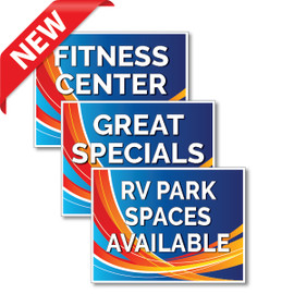 Blue Swoosh RV Park Yard Signs