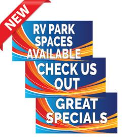 Blue Swoosh RV Park Banners