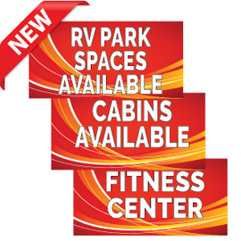 Red Swoosh RV Park Banners