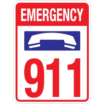 "Emergency 911 Sign - 18"" x 24"""
