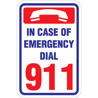 "Emergency Dial 911 Sign - 12"" x 18"""