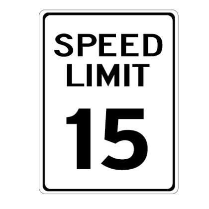 "15 MPH Speed Limit Sign - 18"" x 24"""