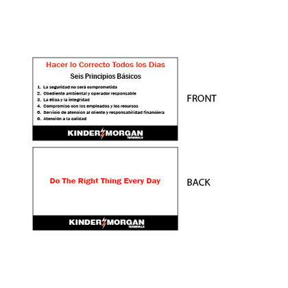 "Core Principles Wallet Card in Spanish - 2"" x 3.5"""