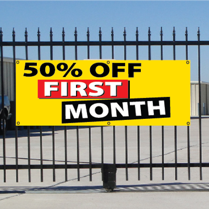 50 Percent Off First Month Banner - Festive