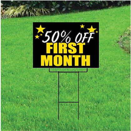 50 Percent Off First Month Sign Self Storage - Celebration