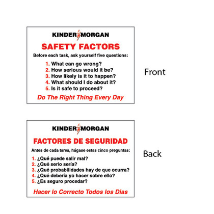 "Safety Factors Card - 2.5"" x 3.5"""