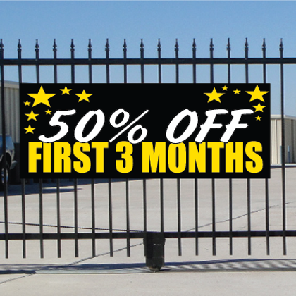 50 Percent Off First Three Months Banner - Celebration