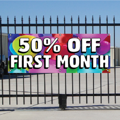 50 Percent Off First Month Banner - Balloons
