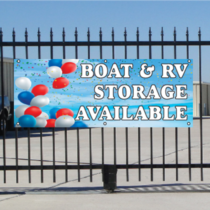 Boat & RV Storage Available Banner - Balloons Sky