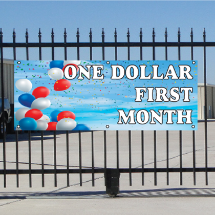One Dollar First Month Banner - Balloons Sky