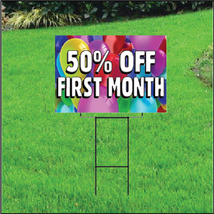50 Percent Off First Month Sign Self Storage - Balloons