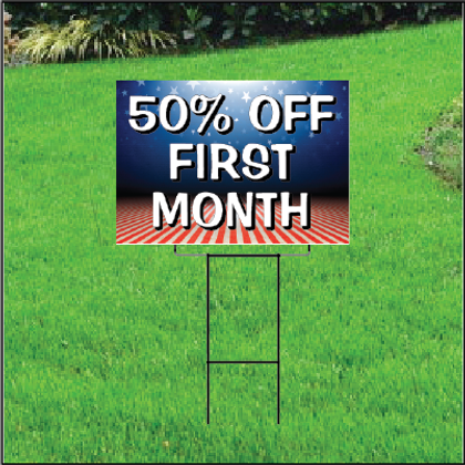 50 Percent Off First Month Sign Self Storage - Patriotic