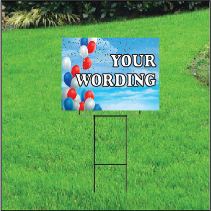 Semi Custom Yard Sign - Balloon Sky