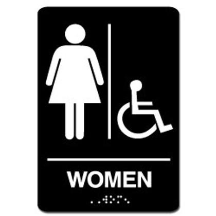 Women's Handicap ADA Restroom Sign