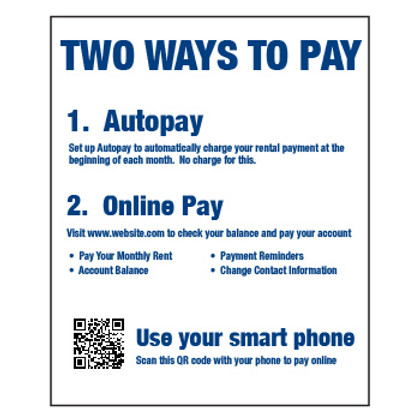 Two Ways to Pay Sign