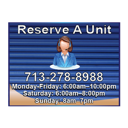 Reserve a Unit Sign