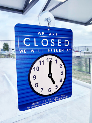 Will Return Sign with Clock Graphic