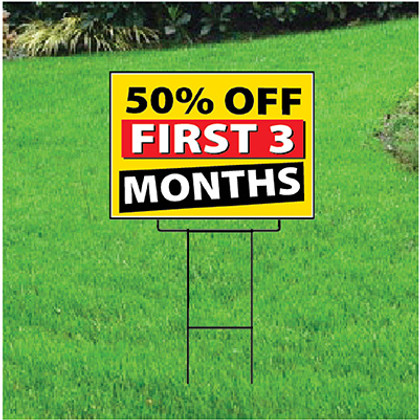 50 Percent Off First Three Months Sign - Festive