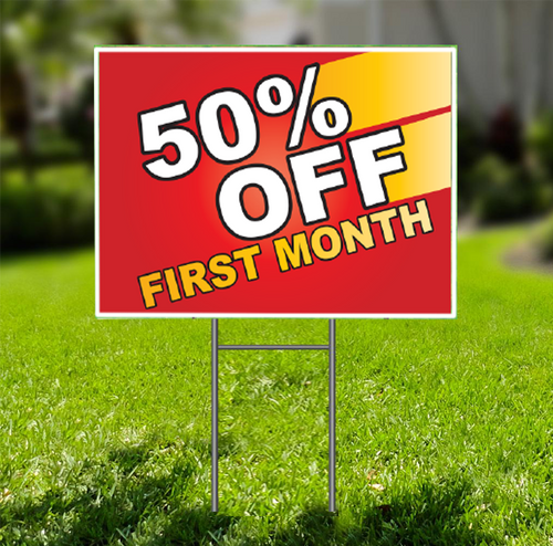 50% Off First Month  for Self Storage Yard Sign -  Dash In