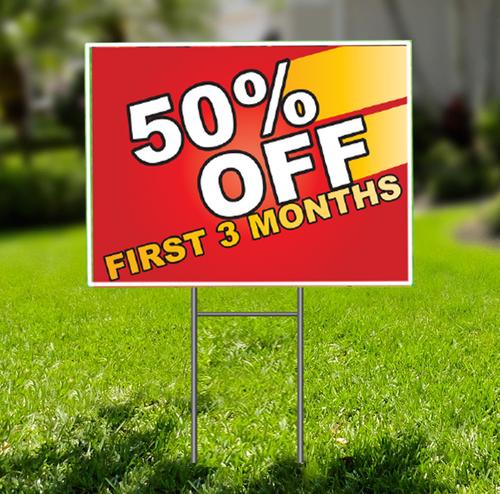 50% Off First Three Months  for Self Storage Yard Sign -  Dash In