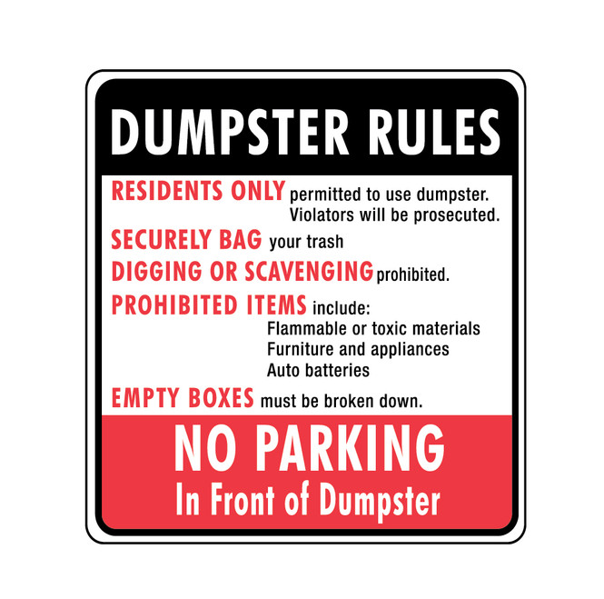"""24"""" x 24"""" Dumpster Rules Sign - No Parking in Front"""