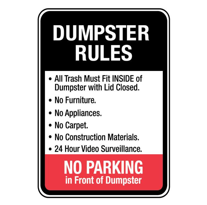 Dumpster Rules for Trash Must Fit Inside Sign