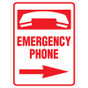 "Emergency Phone Right Arrow Sign - 18"" x 24"""