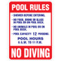 """Pool Rules Sign - 24"""" x 36"""""""