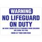 "No Lifeguard on Duty Sign - 36"" x 24"""