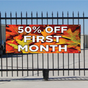 50 Percent Off First Month Banner - Fall