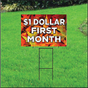 One Dollar First Month Sign for Self Storage - Fall