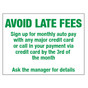 Avoid Late Fees Sign