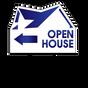 Stock Blue Arrow Open House Realtor Sign