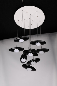 Black fiber glass contemporary LED 9 light pendant