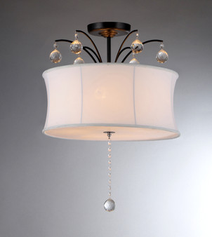 5-Light Semi flush White Shade Bronze Crystal Chandelier