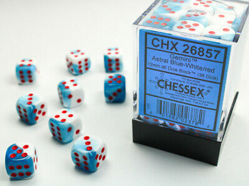 Chessex: Gemini Astral Blue/white/Red 12 mm D6 Dice Set (36)