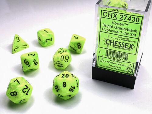 Chessex: Vortex Bright Green/Black Polyhedral dice set (7)