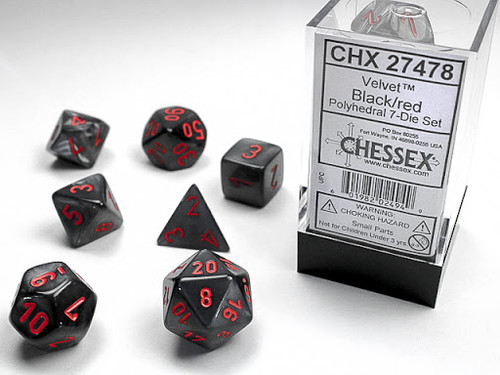 Chessex: Velvet Polyhedral Black/red Polyhedral dice set (7)