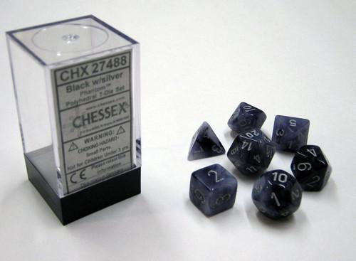 Chessex: Phantom Black/silver Polyhedral dice set (7)