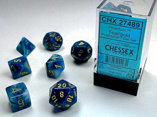 Chessex: Phantom Teal/Gold Polyhedral dice set (7)