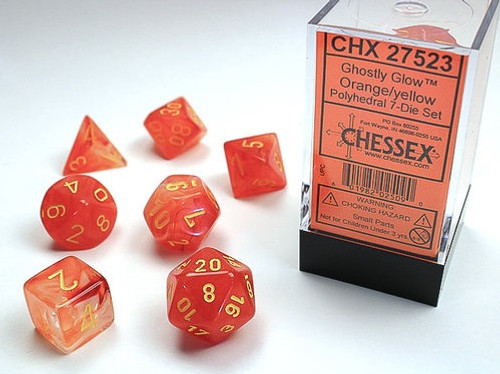 Chessex: Ghostly Glow Orange/Yellow Polyhedral dice set (7)