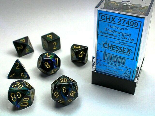 Chessex: Shadow w/Gold Polyhedral dice Set (7)