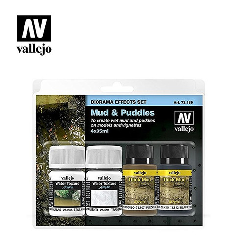 Acrylicos Vallejo Diorama Effects Set: Mud & Puddles 4x35ml