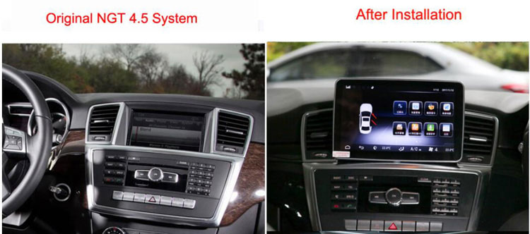 before and after installing Android Mercedes Navigation for ML350 GL450