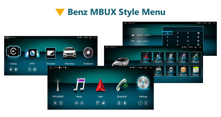 Benz NTG 6.0 MBUX style menu in android multimedia head unit for Mercedes Benz