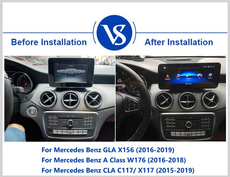 before and after installation of autoradio navigation head unit for Mercedes Benz GLA X156, A class W176, CLA C117/X117 2015-2019