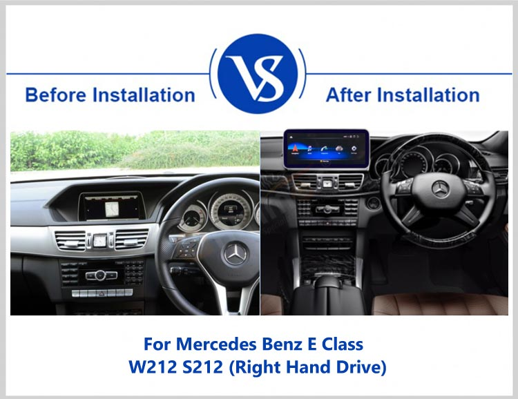before and after installation for GPS navigation for Mercedes Benz E C207 A207 W207 W212(11-13) right hand drive