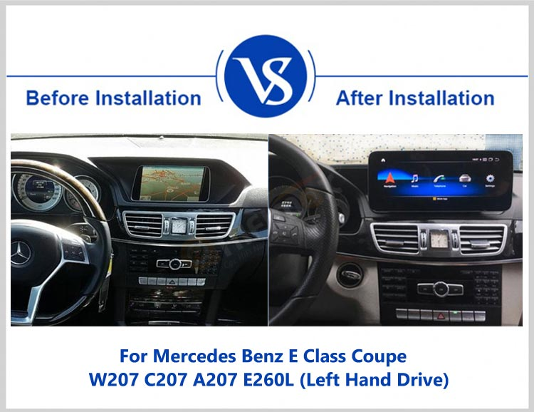 before and after installation for android screen navigation multimedia for Mercedes E class Coupe W207/W212/C207/A207/S212 2014-2015