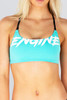 Brazilia Cross Back Top - Graffiti -Turquoise